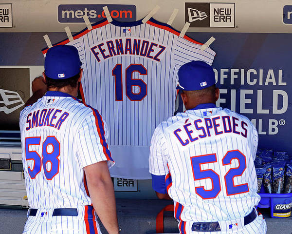 Hanging Poster featuring the photograph Yoenis Cespedes by Adam Hunger