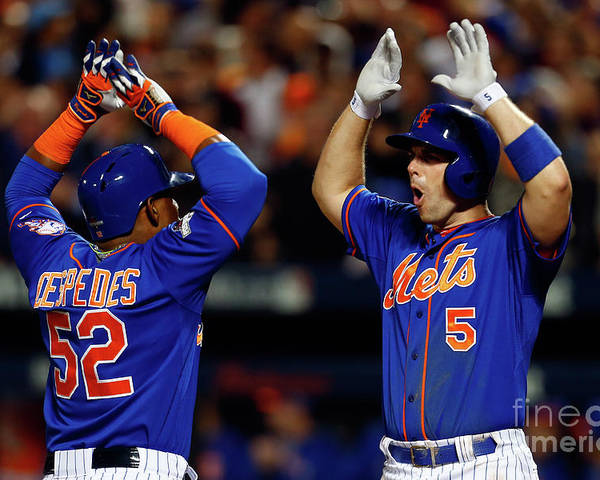 Yoenis Cespedes Poster featuring the photograph Yoenis Cespedes, Alex Wood, and David Wright by Mike Stobe