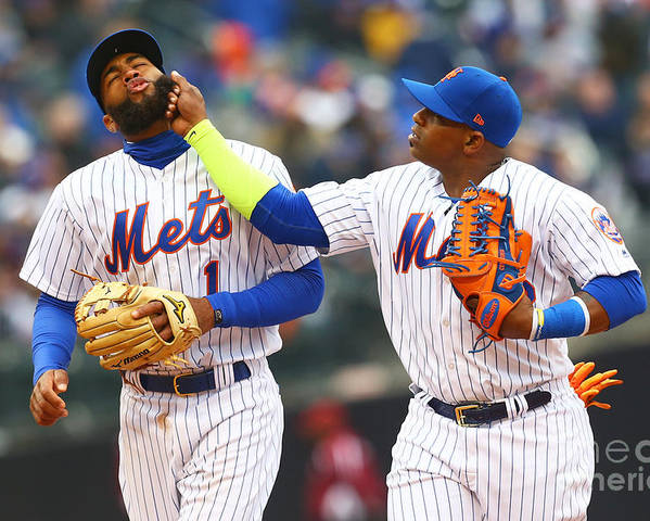 Yoenis Cespedes Poster featuring the photograph Yoenis Cespedes and Amed Rosario by Mike Stobe