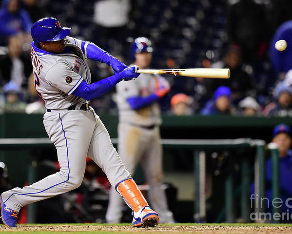 Yoenis Cespedes Poster featuring the photograph Yoenis Cespedes and Juan Lagares by Patrick Mcdermott