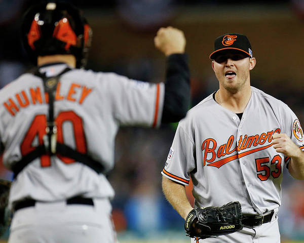 American League Baseball Poster featuring the photograph Zach Britton and Nick Hundley by Gregory Shamus