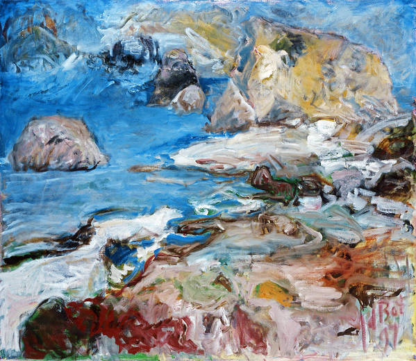 Landscape Sea Rocks Mythology Cyprus Poster featuring the painting Aphrodites Rock by Joan De Bot