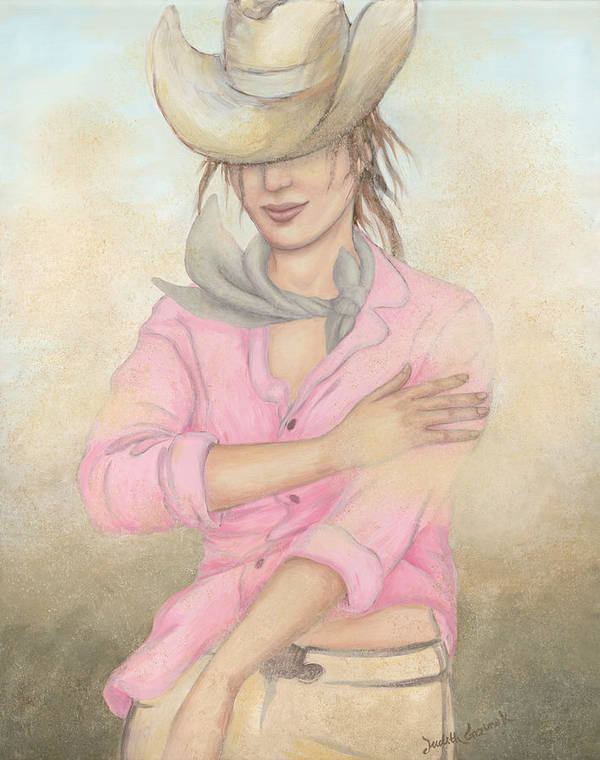Cowgirl Poster featuring the painting Cowgirl by Judith Grzimek