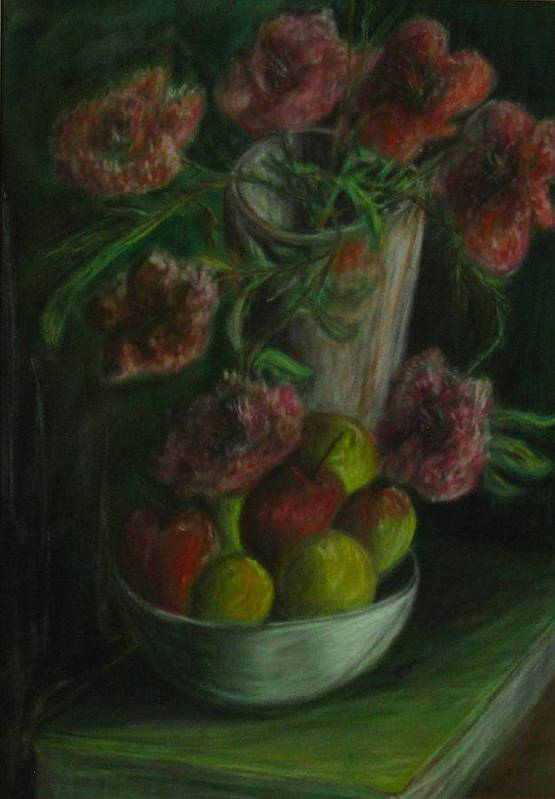 Still Life Poster featuring the pastel Still Life In A Dark Room by Michael Anthony Edwards