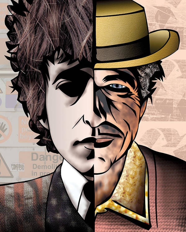 Fine Art America Poster featuring the drawing Bob Dylan - Man Vs. Myth by Sam Kirk