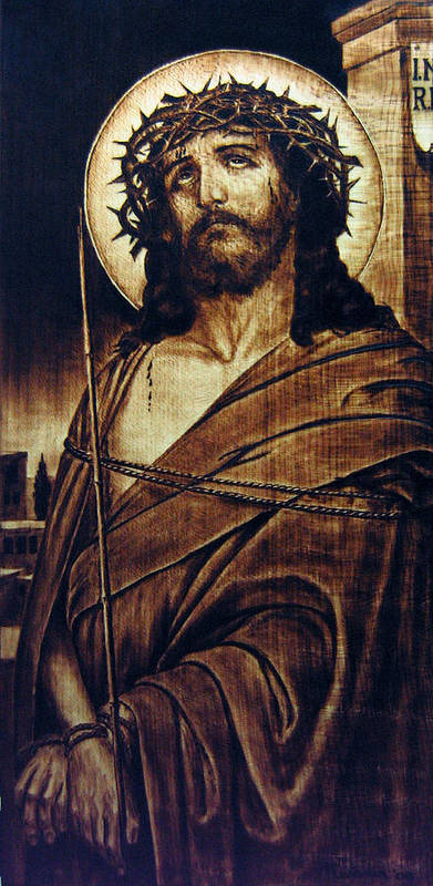Dino Muradian Poster featuring the pyrography Ecce Homo by Dino Muradian