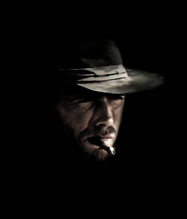 Clint Eastwood Poster featuring the digital art The Man With No Name by Laurence Adamson