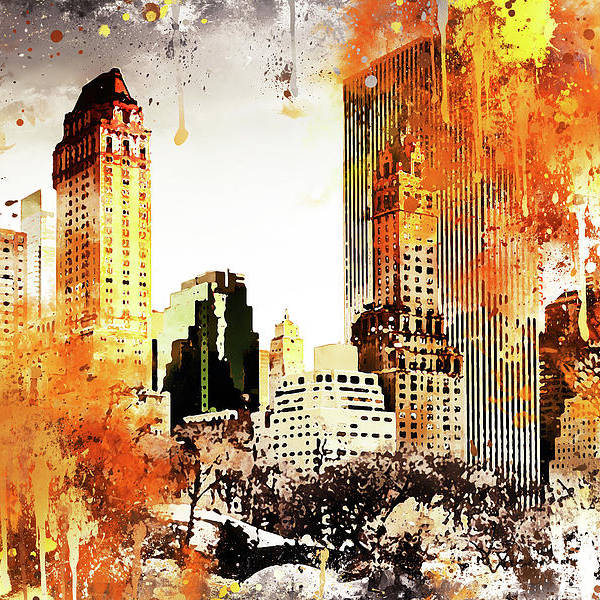 NYC Watercolor Collection - Golden Central Park by Philippe HUGONNARD