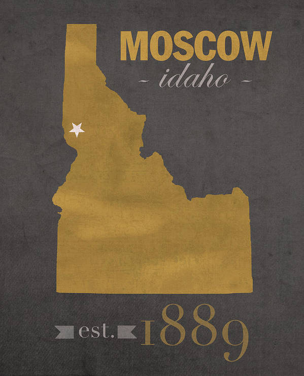University of Idaho Vandals Moscow College Town State Map Poster Series No 046 by Design Turnpike