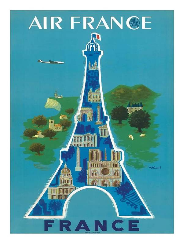 France Eiffel Tower Paris Vintage Travel Poster by Bernard Villemot by Retro Graphics