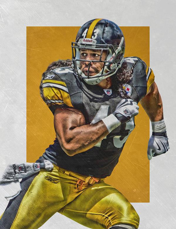 Troy Polamalu Pittsburgh Steelers Art by Joe Hamilton