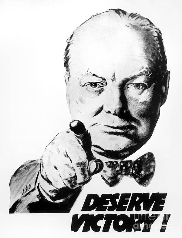 Winston Churchill Deserve Victory poster by Mary Evans Picture Library