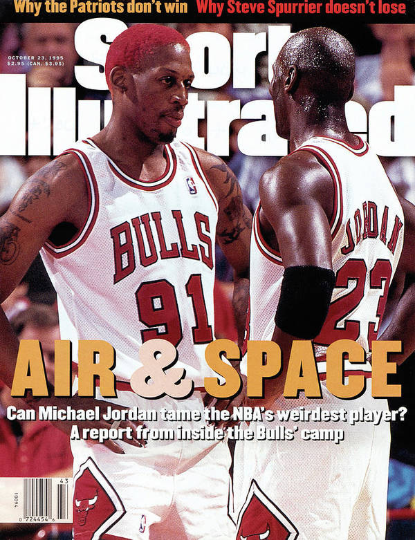 Chicago Bulls Poster featuring the photograph Chicago Bulls Dennis Rodman And Michael Jordan Sports Illustrated Cover by Sports Illustrated