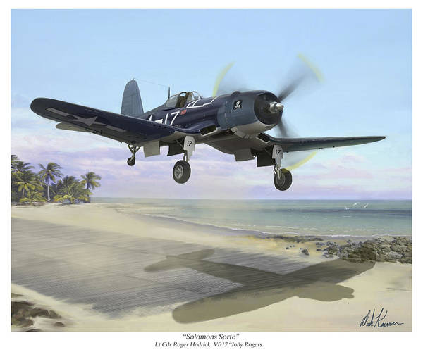 Airplane Poster featuring the painting Corsair Takeoff Vf-17 Jolly Rogers by Mark Karvon