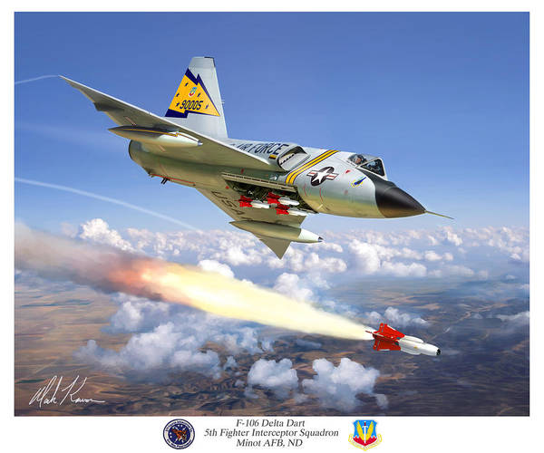 Aviation Poster featuring the painting F-106 Delta Dart 5th Fis by Mark Karvon