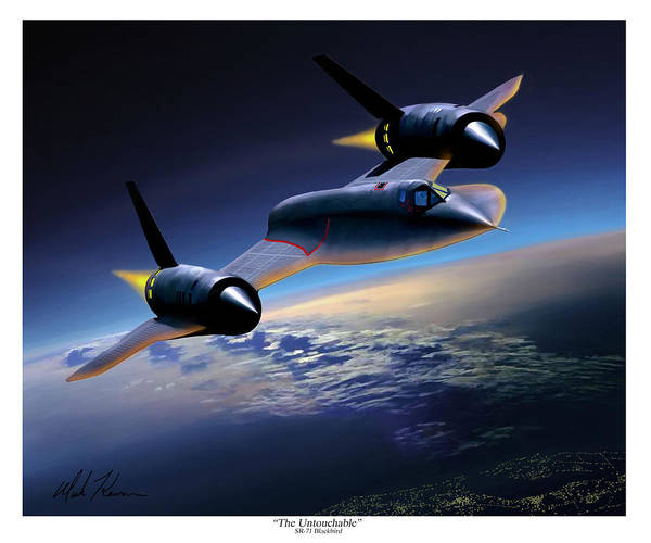 Airplane Poster featuring the painting The Untouchable Sr-71 Blackbird by Mark Karvon