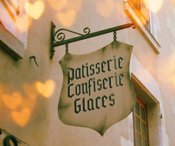Old Shop Sign Poster featuring the photograph Love At The Patisserie by Georgia Fowler