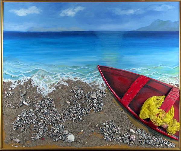 Seascape Poster featuring the painting Serenity by Helene Lagoudakis