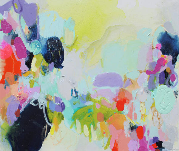 Abstract Poster featuring the painting Chartreuse Stop by Claire Desjardins