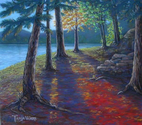 Landscape Poster featuring the painting Fiery Fall Afternoon by Tanja Ware