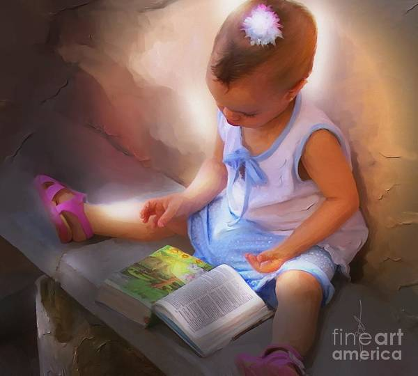 Portrait Poster featuring the painting Innocence And The Bible - Cuba by Bob Salo