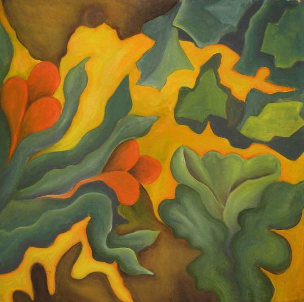 Abstract Yellow Orange And Green Poster featuring the painting Primal Spring by Ani Magai