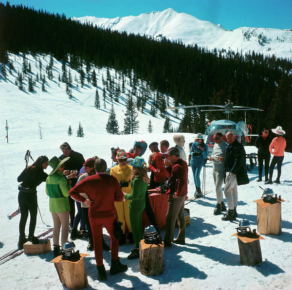 Skiing Poster featuring the photograph Snowmass Picnic by Slim Aarons