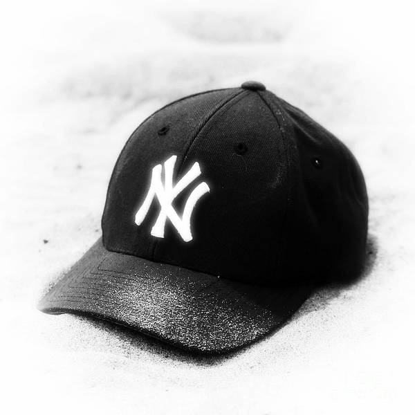Yankee Cap Poster featuring the photograph Beach Cap Black And White by John Rizzuto