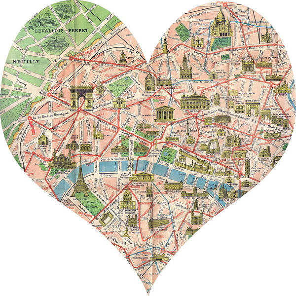 Paris Georgia Map.I Love Paris Heart Map Poster By Georgia Fowler