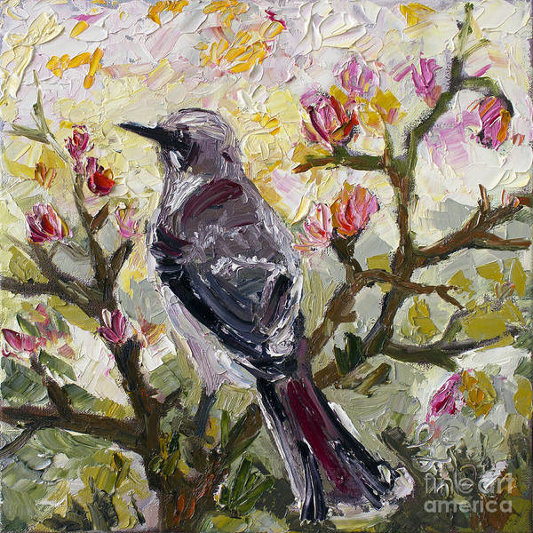 Birds Poster featuring the painting Mockingbird By My Window by Ginette Callaway