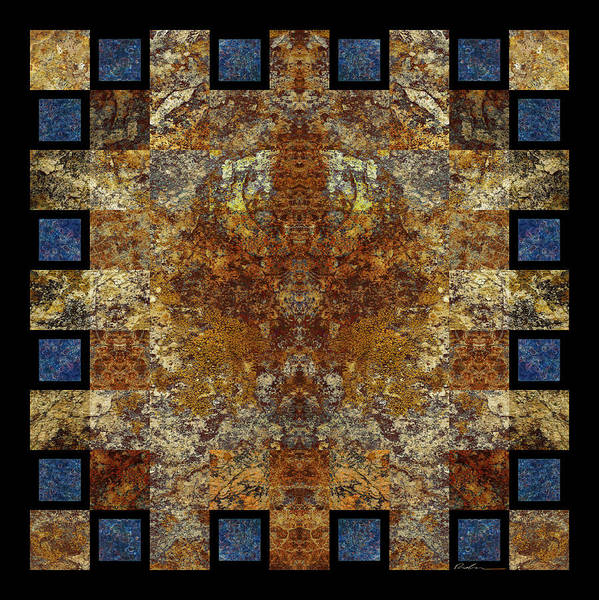 Organic Mineral Marble Tile Stone Geometric Mystical Craftsmanship Abstract Textured Detailed Symmetrical Square Natural Colors Earth-colors Mysterious Checkered Sophisticated Modern Stylish Contemporary High Tech Persian Rug Weaving Bruce Ricker   Poster featuring the photograph Rorshach Yantra Nine Oh Four by Bruce Ricker