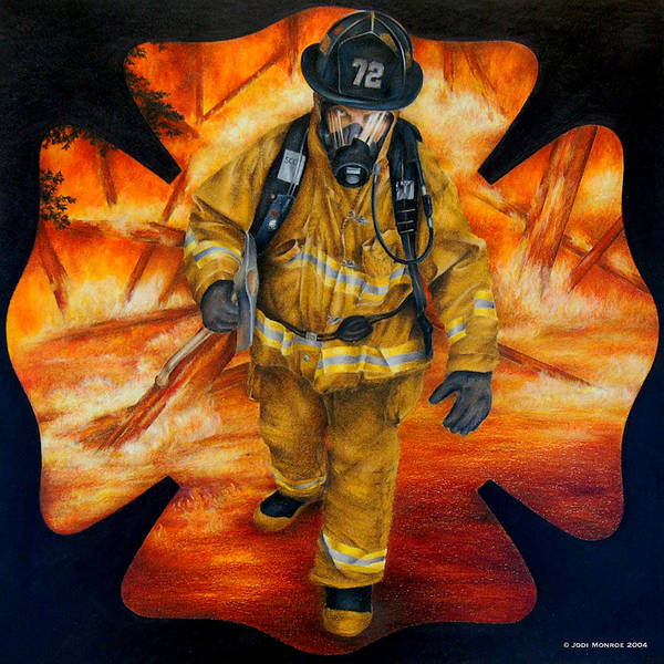 Firefighter Poster featuring the drawing Walking Out by Jodi Monroe