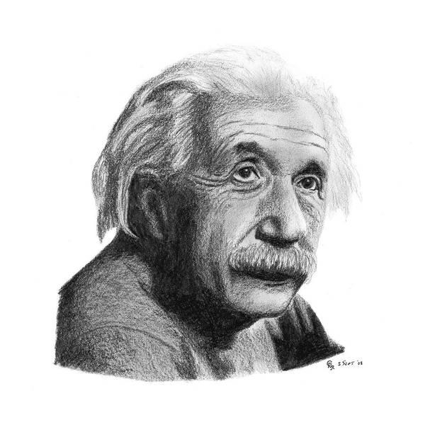 Einstein Poster featuring the drawing Einstein by Charles Vogan