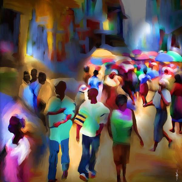 Haiti Poster featuring the painting Marketplace At Night Cap Haitien by Bob Salo