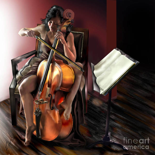 Cello Poster featuring the painting Mi Chica - Solace In The Unseen by Reggie Duffie