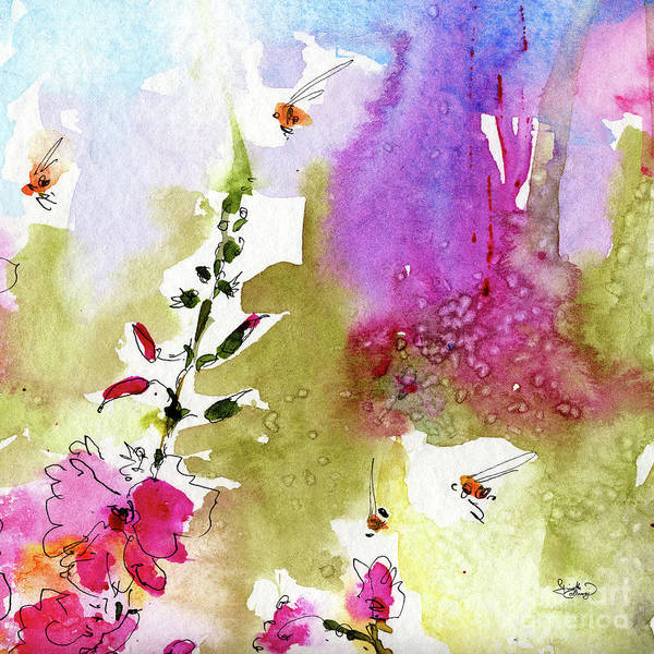 Decorative Poster featuring the painting Pink Lavatera Floral Painting 1 by Ginette Callaway
