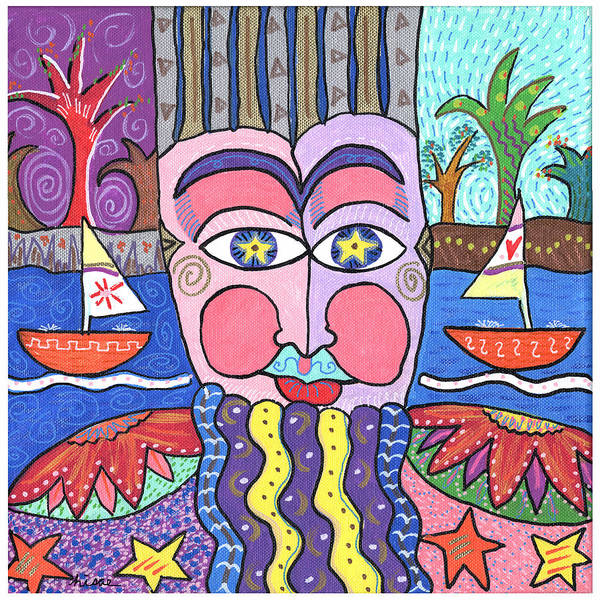 Whimsical Poster featuring the painting The Bearded Man by Sharon Nishihara