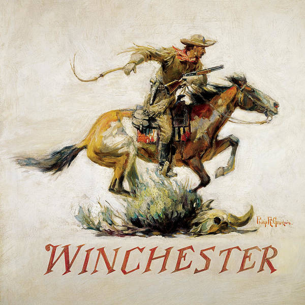 Old West Poster featuring the painting Winchester Horse And Rider by Phillip R Goodwin