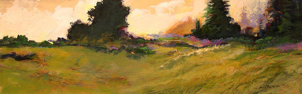 Landscape Poster featuring the painting Evening Meadow by Dale Witherow