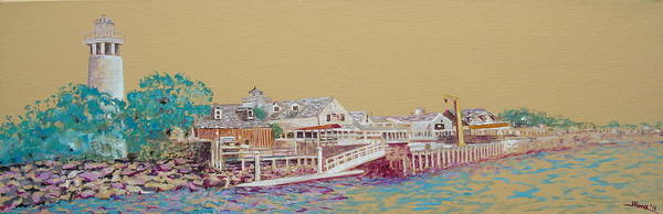 Fisherman's Wharf Poster featuring the painting Fisherman's Village by Illona Battaglia Aguayo