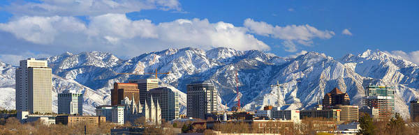 Salt Poster featuring the photograph Salt Lake City Skyline by Utah Images