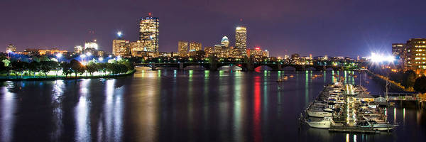 Boston Poster featuring the photograph Boston Harbor Nights-panorama by Joann Vitali