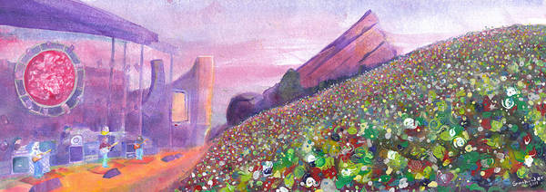Widespread Panic Poster featuring the painting Widespread Panic At Redrocks by David Sockrider