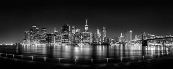 New york city skyline poster featuring the photograph new york city skyline panorama at night bw