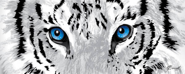 Tiger Poster featuring the digital art Snow Tiger's Soul In Blue by Dana Bennett