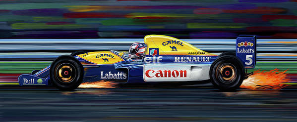 Automotive Poster featuring the digital art Nigel Mansell Williams Fw14b by David Kyte