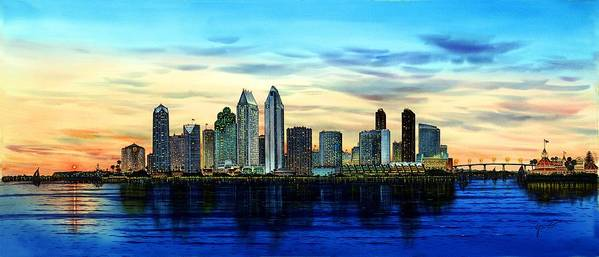 San Diego Paintings Poster featuring the painting San Diego Skyline And Coronado At Dusk U.s.a by John YATO