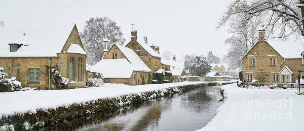 Lower Slaughter Poster featuring the photograph Winter Snow In Lower Slaughter Village Panoramic by Tim Gainey