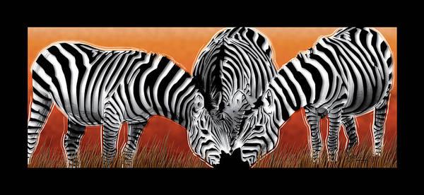 Zebras Poster featuring the digital art Zebras In Sunset Field by Dana Bennett