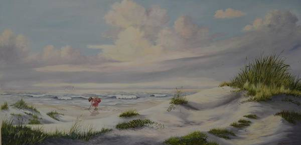 Landscape Poster featuring the painting Shadows In The Sand Dunes by Wanda Dansereau